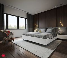 This is dark and elegant room. Use rich wood is a good solution for those who want to warm things up with a touch of texture and create minimalist spaces. #interiordesign #luxury #bedroom