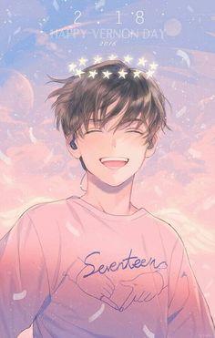 Immagine di fanart, kpop, and Seventeen (Vernon) Kpop Fanart, Got7 Fanart, Manga Anime, Art Manga, Kawaii Anime, Anime Boy Zeichnung, Fan Art Anime, Cute Anime Guys, Anime Boys