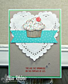 Lisa's cute cupcake card: Sprinkles of Life, Cherry on Top dsp stack, Tree Builder punch, & more - all from Stampin' Up!