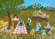 Harvest Lunch Break by Maria Julia Fraile, size: 33cmX46cm. Painting matierial: Acrylic on canvas