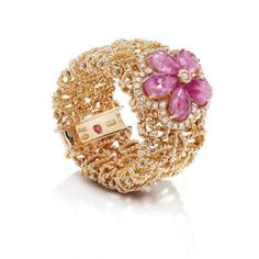 Barocco Collection, Ring in rose gold with diamonds and pink sapphires by Roberto Coin