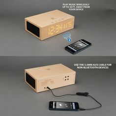 BlueSYNC TYM / Wooden Led Alarm Clock and Wireless Bluetooth Speaker by GOgroove - An all-wood encased LED digital alarm clock that is also built with a Bluetooth speaker. It also includes volume controls, temperature sensor, and a speakerphone. | For more pins on Portable Alarm Clock Speakers, follow Best Buy Portable Speakers (www.pinterest.com/bestbuyspeakers/)