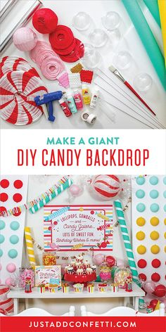 Make a DIY Backdrop of oversized candies for your Candy Party. These easy DIY decorations are so simple to craft and will make a big impact at your party. Check out the post for all the fun ideas for a candy party theme, decorations and favors!