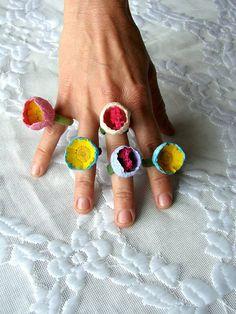 White Fuchsia Statement Ring, Paper Ring, Eco Friendly, Flower Ring, Bridesmaid, Wedding Gift, Boho, Natural, Hippie,Vegan, Handmade on Etsy
