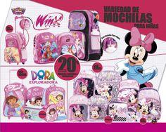 Para las pequeñas variedad de lindas mochilas #Minnie #WinxClub #DoraLaExploradora