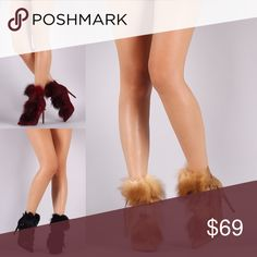 Genuine Fur Lace up Booties Genuine fur accents, wrapped around lace up design Liliana Shoes Ankle Boots & Booties
