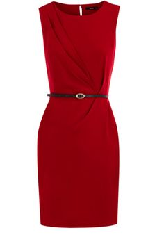 Classic pencil dress, sleeveless in style and with ruched detail through the front. There is a waspish waistbelt, provided, for the perfect figure hugging finish.