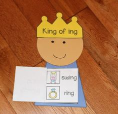 The king of ing! A cute idea. Students cut and glue pics next to the written words. More advanced readers could list words in the ing word family.