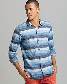 PRPS Goods & Co - Cotton Linen Stripe Sport Shirt @Bloomingdale's