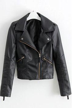 Black PU Biker Jacket by: Oasap Limited Black Biker Jacket, Motorcycle Jacket, Leather Jacket, Moto Jacket, Biker Gear, Punk Jackets, Cool Style, My Style, Autumn Winter Fashion
