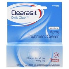 Clearasil  Vanishing Cream 1 Ounce.(Pack of 3)***24 Hour Control, Maximum Strength,Dries up and helps heal pimples quickly,Absorbs excess oil from the skin,Dermatologist-tested face and body acne-fighting formula,.