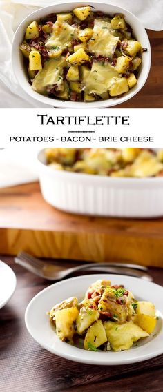 Tartiflette is a simple potato casserole with crispy bacon, creamy brie cheese, and fresh chives. Popular in the French Alps it's a dish that will warm you through on the coldest of days | girlgonegourmet.com