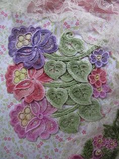 Lace Flower Applique Hand Dyed Venise by RavioleeDreams on Etsy, $6.50