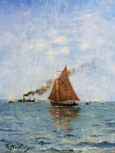 Sailboats and Steamships (Alfred Émile Léopold Stevens)