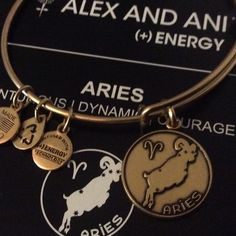 NWT Alex and Ani Aries Zodiac Bangle Bracelet Gold Brand new with tags, check back, has a dark stein, not a defect, Alex and Ani are made of a mixture of metals and this dark areas are completely normal. I just pointed out so you can check it out closely. Meaning card included! Alex & Ani Jewelry Bracelets