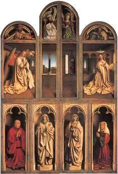 """""""Ghent Altarpiece"""" - Closed view, back panels, by Hubert van Eyck & Jan van Eyck (1432) @ Royal Palace of Brussels, Belgium"""