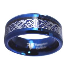 In Celtic tradition, the dragon was a gatekeeper to otherworldly realms and a guardian to the secrets and treasures of the universe. Dragons are considered the most powerful of all the Celtic symbols and used to represent power and wisdom among leaders and families. This amazing electric blue tungsten dragon ring embraces the power of the dragon with a traditional Celtic figure-eight infinity knot. The blue tungsten ring has an ice dragon intertwined with a Celtic infinity knot pattern that… Celtic Infinity Knot, Celtic Knot, Tungsten Jewelry, Tungsten Rings, Dragon Ring, Ice Dragon, Celtic Dragon, Tungsten Wedding Bands, Silver Dragon