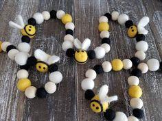 RESERVED FOR ANGELA Garland. Tassle Garland, Wood Bead Garland, Felt Ball Garland, Pom Pom Garland, Tassels, Magnolia Leaf Garland, Bee Party, Pom Pom Crafts, Bee Crafts