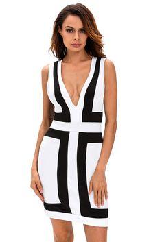 Chicloth Black White Color-block V Neck Sleeveless Dress
