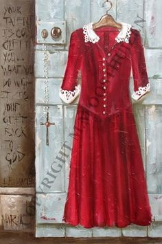Rooi+Rok+op+Groen+Deur+/+Red+Dress+on+Green+Door
