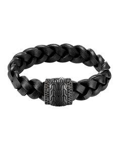 Men's Black Bronze Braided Leather Bracelet, Black