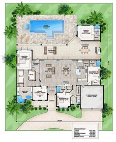 I absolutely love this. Coastal Contemporary Florida Level One of Plan 52912  Needs another garage too