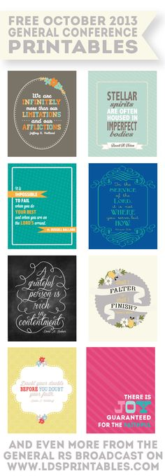 Free October 2013 General Conference Printables. Saturday and Sunday sessions, as well as the RS Broadcast.