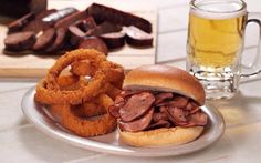 Zarda BBQ -  What's for lunch? Try our delicious sliced sausage sandwich along with a reg. side & drink for just $8.99! #Zarda Sausage Sandwiches, Whats For Lunch, Food Preparation, Deli, Kansas City, Coffee Shop, Hamburger, Grilling, Bbq
