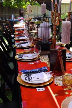Party tablescape from a Gryffindor Harry Potter Birthday Party via Kara's Party Ideas KarasPartyIdeas.com (11)