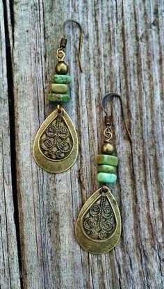 Boho Jewelry Boho Dangle Earrings with Green by RusticaJewelry
