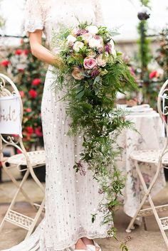 I like the greenery as the cascading part if the bouquet. Gorgeous Cascading Wedding Bouquets ❤ See more: http://www.weddingforward.com/cascading-wedding-bouquets/ #weddings