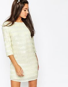 Image 1 ofASOS Linear Sequin Mini Shift Dress