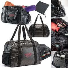 Get-Fit Gym Duffel Shiny black quilted polyester material duffel packs a punch with many special extras! Black web accents on front and back with open loops to carry a yoga mat or towels, Reinforced web and polyester looped double handles, 2 Adjustable side catch pockets, Front zippered slit pocket with Mia branded zipper pulls, Dual zippered lined large main compartment, Large interior side zipper pocket with 2 mesh compartments on top,  Product ID: WM3156 Call 800-728-7192