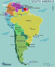 south america country mapsouth america map with country and city