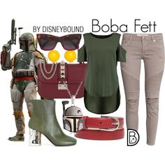 Boba Fett by leslieakay on Polyvore featuring Maison Margiela, Valentino, Kim Rogers, New Directions, CÉLINE, disney, disneybound, starwars and disneycharacter