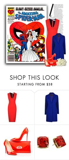 """""""Spider-Man & Mary Jane Watson"""" by ameve ❤ liked on Polyvore featuring Victoria Beckham, French Connection, Christian Louboutin, Kate Spade, superheroes, marvel, spiderman and marvelcomics"""