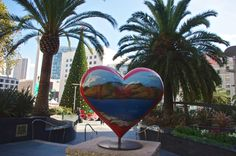 Union Square,  artist painted heart.  We visited during the holidays so union square was decorated beautifully