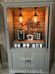 Armoire Bar, Bar Hutch, Coffee Bars In Kitchen, Coffee Bar Home, Coffee Bar Ideas, Coffe Bar, Wine And Coffee Bar, Armoire Makeover, Furniture Makeover