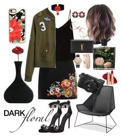 """dark floral"" by bellanindia on Polyvore featuring Giuseppe Zanotti, River Island, Raey, Dolce&Gabbana, Jessica Carlyle, Yves Saint Laurent, Nest Fragrances, Thos. Baker, Panasonic and Casetify"