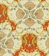 Home Decor Upholstery Fabric-Waverly Jewel of the Sea / Coral