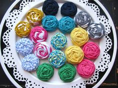 Shoe Clips Fabric Flower Rosette Pick Your by HappyLittleLovelies, $12.00