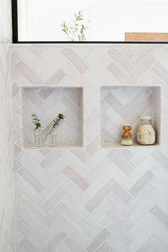 white Scandinavian herringbone tile Ceramic Tile Bathrooms, Bathroom Niche, Shower Niche, Herringbone Tile, Tile Projects, Handmade Tiles, Tile Installation, Color Tile, Tile Design