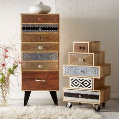Sorio Reclaimed Wood 5 Drawer Small Chest of Drawers