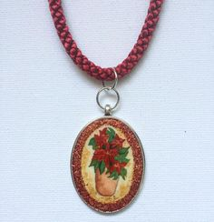 Poinsettia Illustration Silver Oval Pendant Using Winsor&Newton cotman paper and watercolors