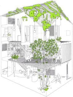 Architecture design presentation section drawing, green architecture, triangular architecture, interior architecture drawing, Architecture Design, World Architecture Festival, Architecture Sketchbook, Architecture Graphics, Green Architecture, Triangular Architecture, Famous Architecture, Autocad, Axonometric Drawing