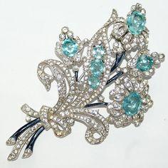 Trifari Floral Enamel Aqua Bracelet Two Pin Clips Earrings Set 1940 from luminousbijoux on Ruby Lane