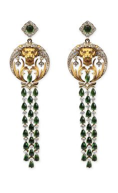 Magerit - Babylon Collection: Earrings Floating YELLOW GOLD 18KT, DIAMONDS AND GREEN TOURMALINES GOLD WEIGHT: 48,15 DIAMOND WEIGHT: 4,31