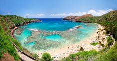 Hanauma Bay on the island of Oahu, in Hawaii. Hawaii Tours, Honolulu Hawaii, Hawaii Vacation, Hawaii Travel, Hawaii Usa, Hawaii Beach, Vacation Places, Vacation Rentals, Vacation Ideas