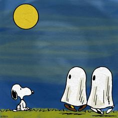 Snoopy checking out two of the Peanuts gang dressed as ghosts on Halloween night.