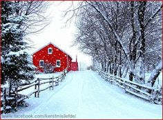 Country house at Christmas time with lots of snow. I added falling snow and a border. DF,